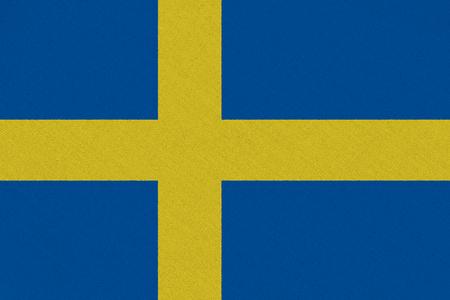 Sweden fabric flag. Patriotic background. National flag of Sweden