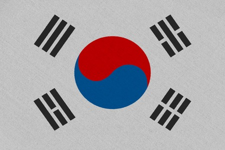 South korea fabric flag. Patriotic background. National flag of South korea Imagens
