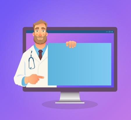 Online medical consultation. Doctor online. Medicine concept. Doctor website vector illustration
