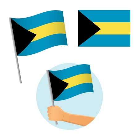 Bahamas flag in hand. Patriotic background. National flag of Bahamas vector illustration 向量圖像