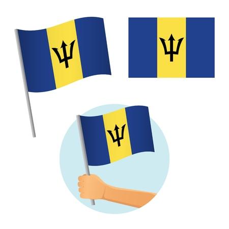 Barbados flag in hand. Patriotic background. National flag of Barbados illustration Stock Vector - 122467910