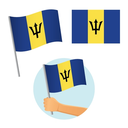 Barbados flag in hand. Patriotic background. National flag of Barbados illustration
