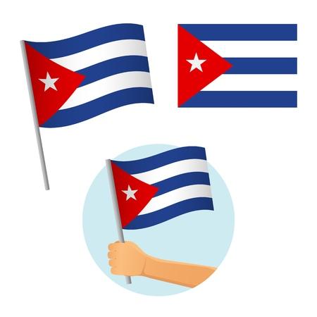 Cuba flag in hand. Patriotic background. National flag of Cuba vector illustration