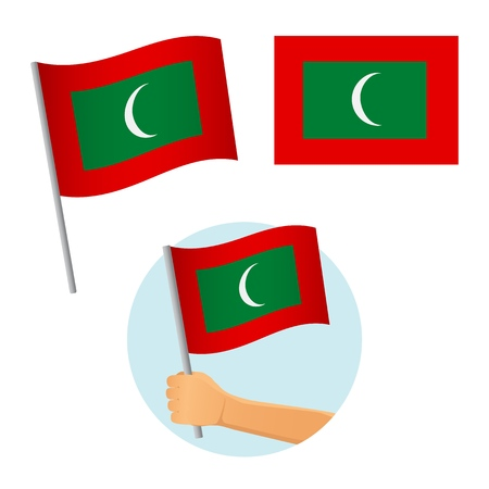 Maldives flag in hand. Patriotic background. National flag of Maldives vector illustration