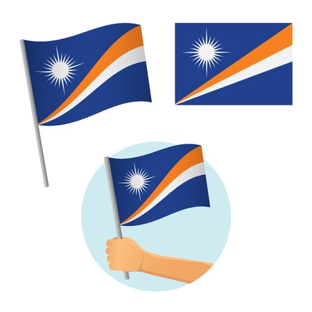 Marshall Islands flag in hand. Patriotic background. National flag of Marshall Islands vector illustration Ilustração