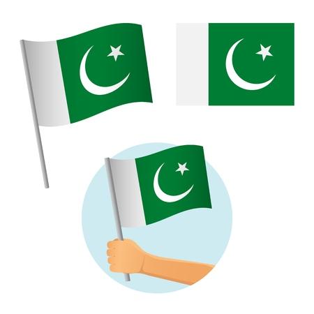 Pakistan flag in hand. Patriotic background. National flag of Pakistan illustration
