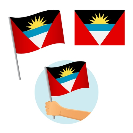 Antigua and Barbuda flag in hand. Patriotic background. National flag of Antigua and Barbuda vector illustration Illusztráció
