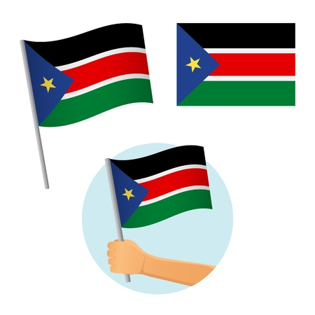 South Sudan flag in hand. Patriotic background. National flag of South Sudan vector illustration