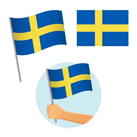 Sweden flag in hand. Patriotic background. National flag of Sweden vector illustration