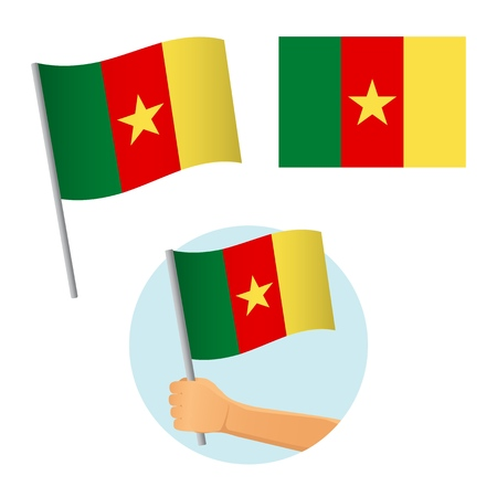 Cameroon flag in hand. Patriotic background. National flag of Cameroon vector illustration Ilustração