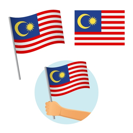 Malaysia flag in hand. Patriotic background. National flag of Malaysia vector illustration