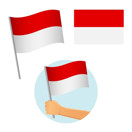 Indonesia flag in hand. Patriotic background. National flag of Indonesia vector illustration