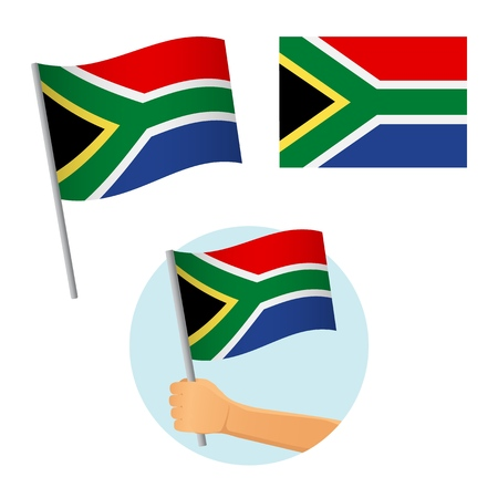 South Africa flag in hand. Patriotic background. National flag of South Africa vector illustration Ilustração