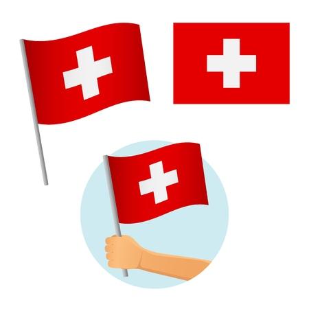 Switzerland flag in hand. Patriotic background. National flag of Switzerland vector illustration Banque d'images - 122744899