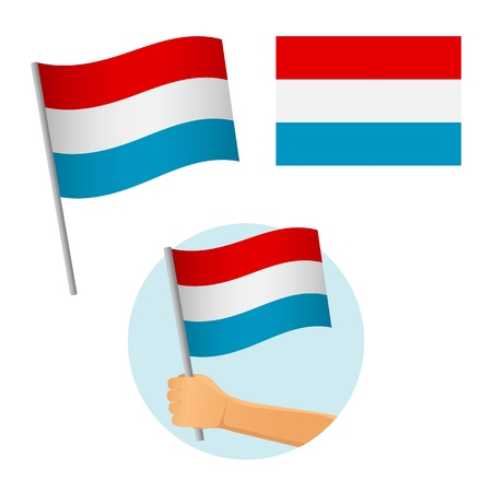 luxembourg flag in hand. Patriotic background. National flag of luxembourg vector illustration Ilustrace