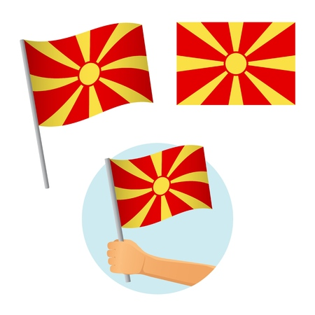 Macedonia flag in hand. Patriotic background. National flag of Macedonia vector illustration
