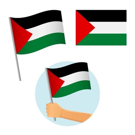 Palestine flag in hand. Patriotic background. National flag of Palestine vector illustration Illustration