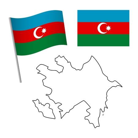 Azerbaijan flag and map. Patriotic background. National flag of Azerbaijan vector illustration Illustration