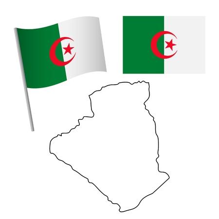 Algeria flag and map. Patriotic background. National flag of Algeria vector illustration