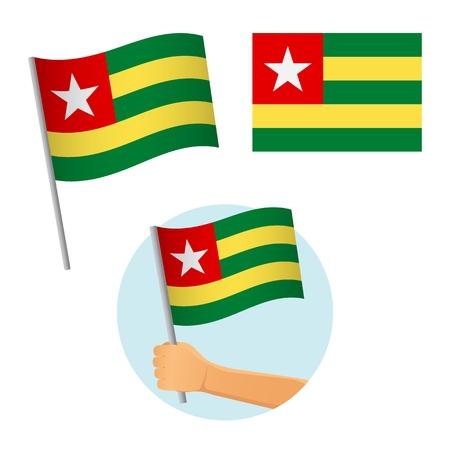 Togo flag in hand. Patriotic background. National flag of Togo vector illustration