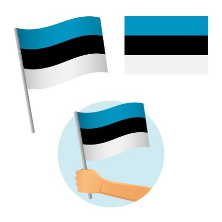 Estonia flag in hand. Patriotic background. National flag of Estonia vector illustration Ilustrace