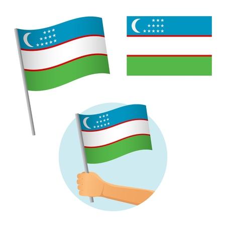 Uzbekistan flag in hand. Patriotic background. National flag of Uzbekistan vector illustration Ilustrace