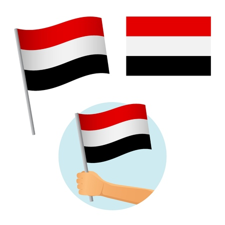 Yemen flag in hand. Patriotic background. National flag of Yemen vector illustration Ilustrace