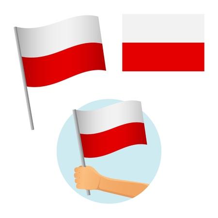Drapeau de la Pologne en main. Contexte patriotique. Drapeau national de la Pologne vector illustration Vecteurs