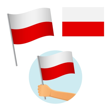 Poland flag in hand. Patriotic background. National flag of Poland vector illustration