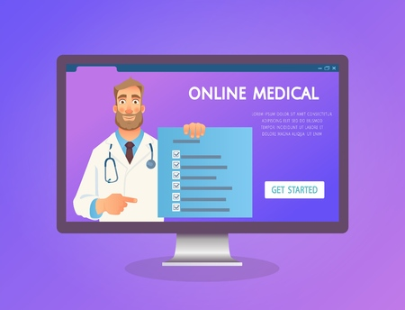 Online medical consultation. Doctor online. Medicine concept. Doctor website vector illustration