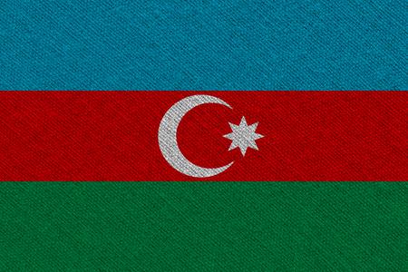 Azerbaijan fabric flag. Patriotic background. National flag of Azerbaijan Stockfoto