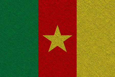 Cameroon fabric flag. Patriotic background. National flag of Cameroon