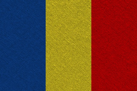 Chad fabric flag. Patriotic background. National flag of Chad
