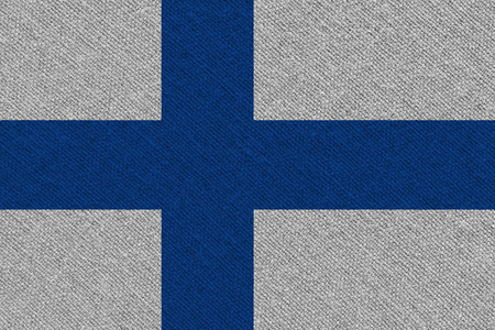 Finland fabric flag. Patriotic background. National flag of Finland Фото со стока