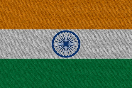 India fabric flag. Patriotic background. National flag of India Stock Photo - 122469321