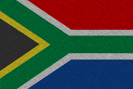 South Africa fabric flag. Patriotic background. National flag of South Africa