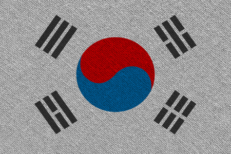 South korea fabric flag. Patriotic background. National flag of South korea Imagens - 122469527