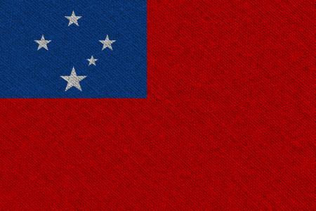Samoa fabric flag. Patriotic background. National flag of Samoa Stock Photo
