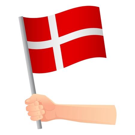 Denmark flag in hand. Patriotic background. National flag of Denmark illustration Vetores