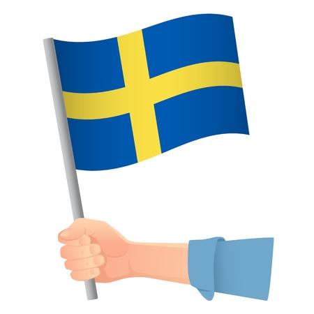 Sweden flag in hand. Patriotic background. National flag of Sweden illustration