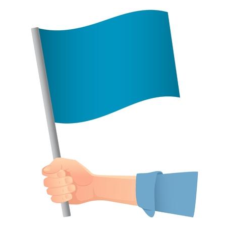 Blue flag in hand. Vector illustration of blue flag