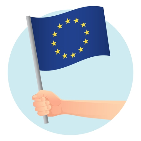 EU flag in hand. Patriotic background. Europe flag vector illustration