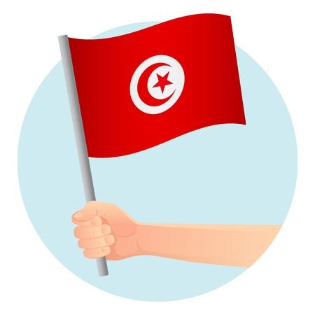 Tunisia flag in hand. Patriotic background. National flag of Tunisia vector illustration