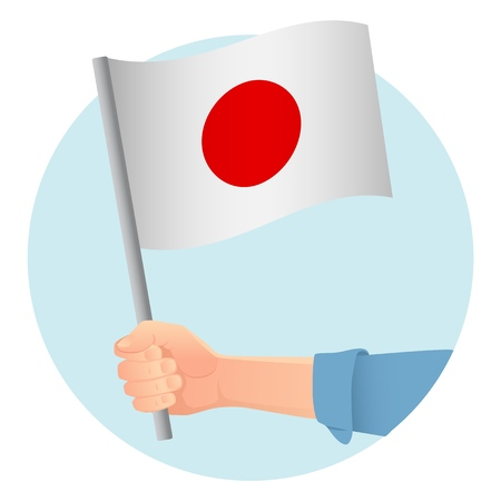 Japan flag in hand. Patriotic background. National flag of Japan vector illustration