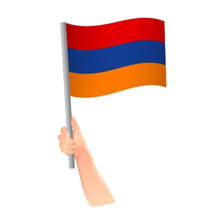 Armenia flag in hand. Patriotic background. National flag of Armenia vector illustration