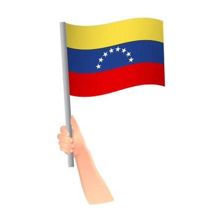 Venezuela flag in hand. Patriotic background. National flag of Venezuela vector illustration