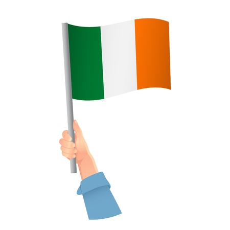 Ireland flag in hand. Patriotic background. National flag of Ireland vector illustration