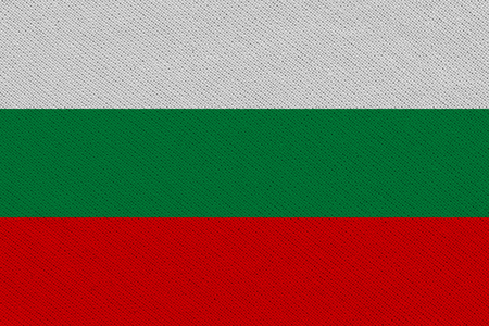 Bulgaria fabric flag. Patriotic background. National flag of Bulgaria