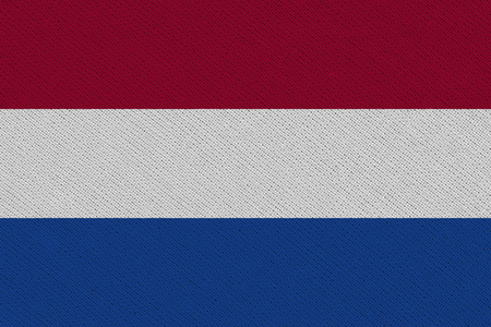 Netherlands fabric flag. Patriotic background. National flag of Netherlands