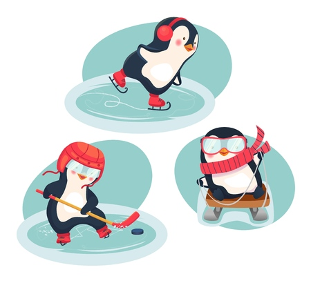 Winter sports. Childrens sports concept. Active penguins in winter. Vector illustration. Zdjęcie Seryjne - 124817112